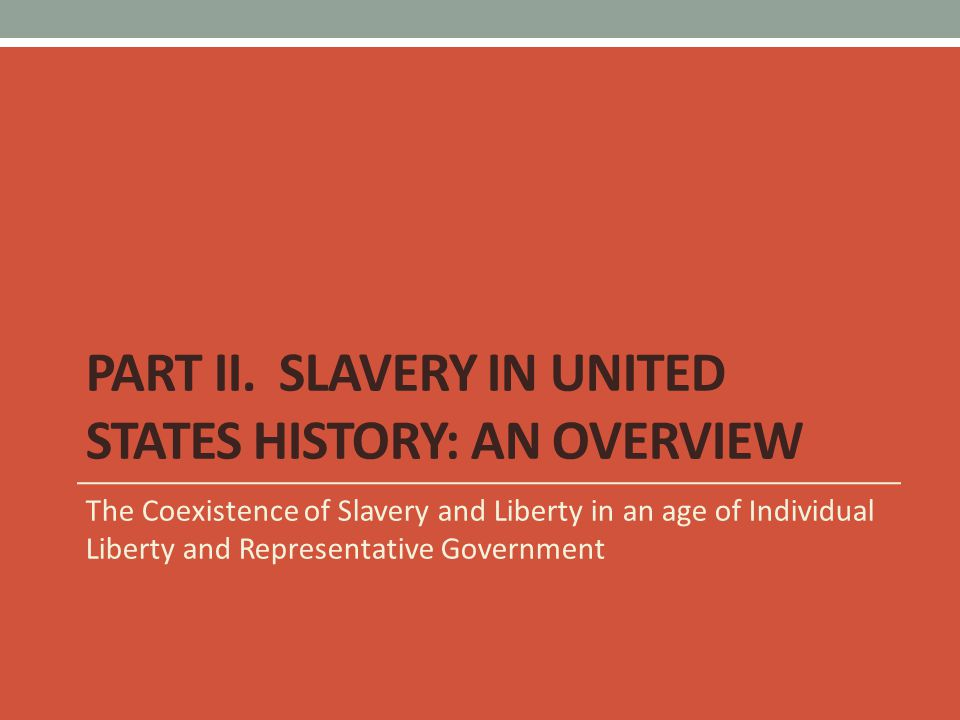Part II. Slavery in United States History: An Overview