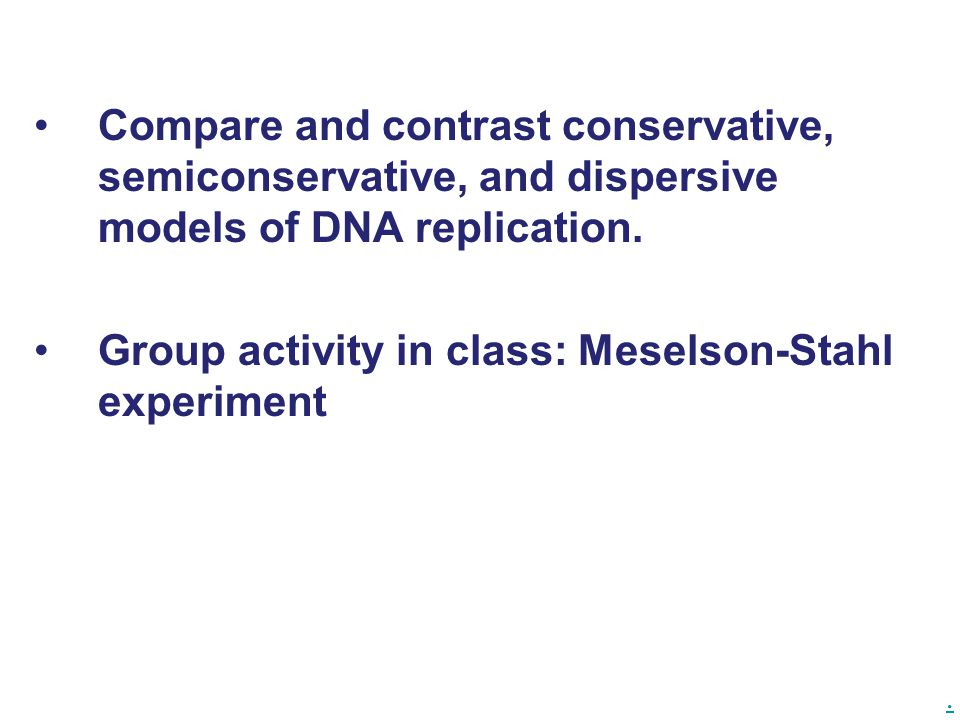 Compare and contrast conservative, semiconservative, and dispersive models of DNA replication.