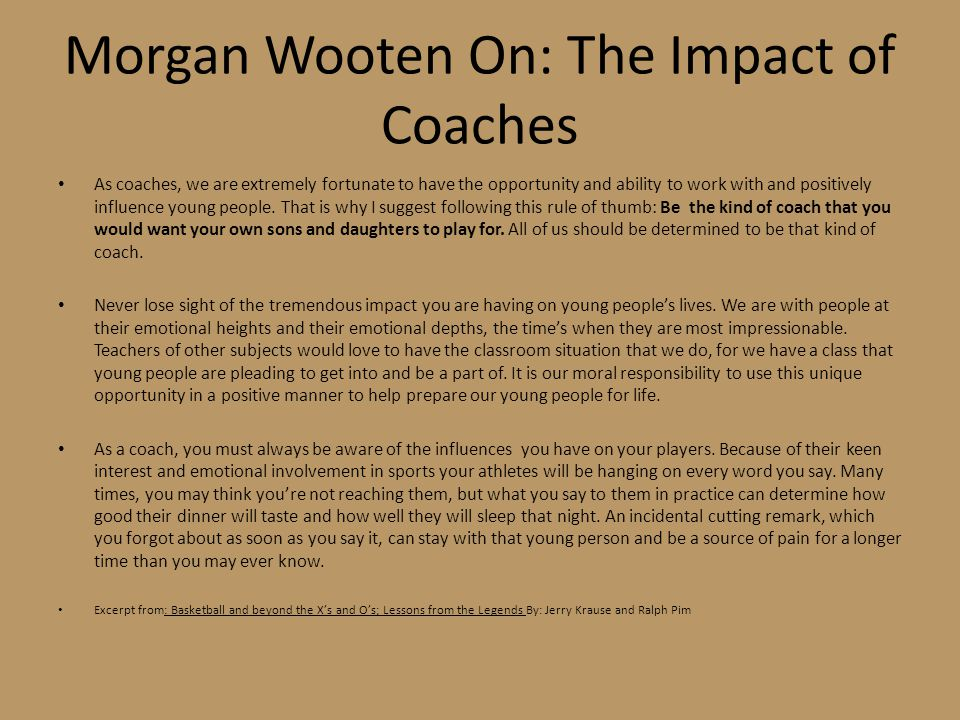 Morgan Wooten On: The Impact of Coaches