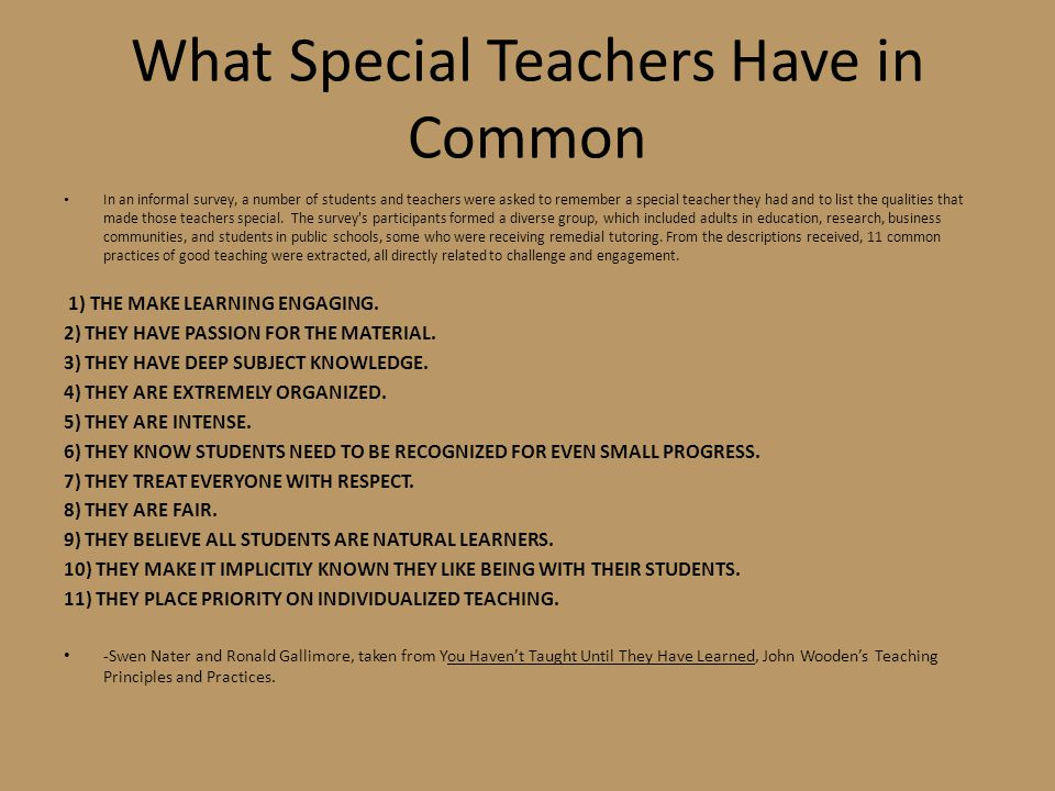 What Special Teachers Have in Common