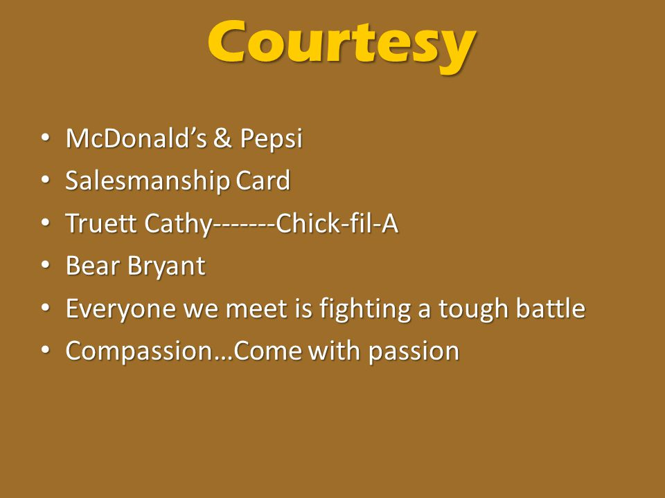 Courtesy McDonald's & Pepsi Salesmanship Card