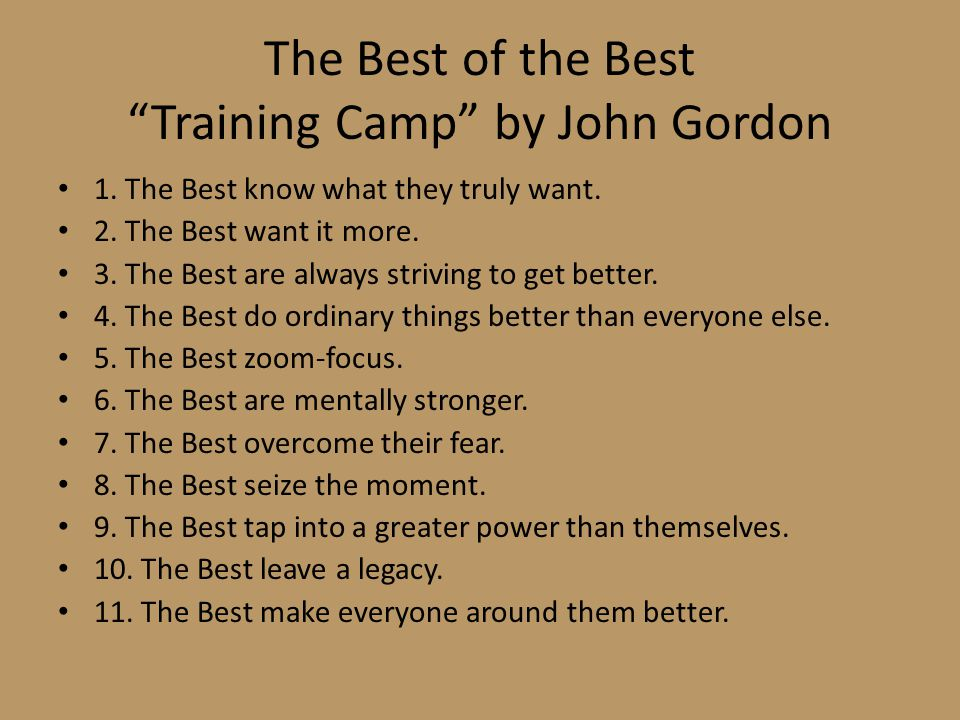 The Best of the Best Training Camp by John Gordon