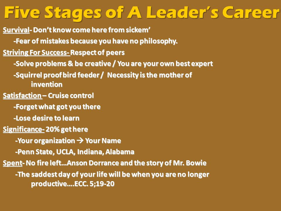 Five Stages of A Leader's Career