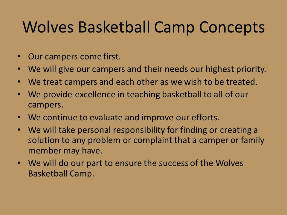 Wolves Basketball Camp Concepts