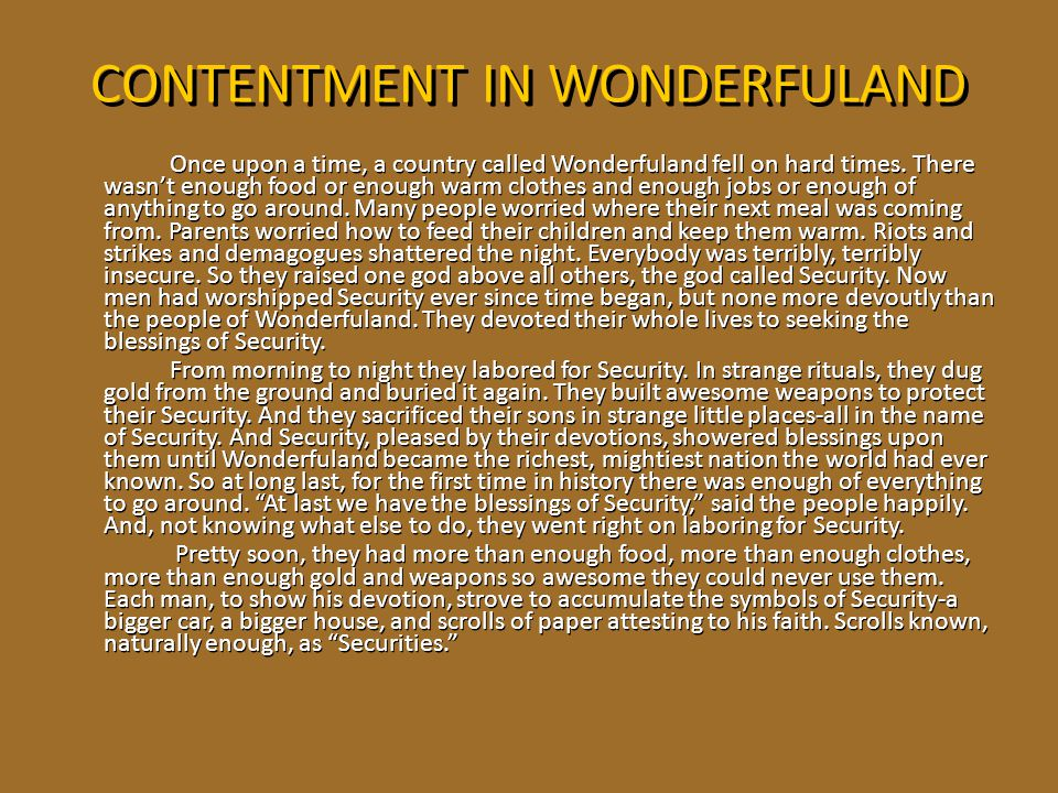 CONTENTMENT IN WONDERFULAND