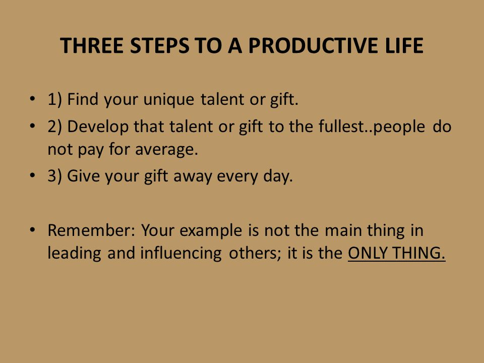 THREE STEPS TO A PRODUCTIVE LIFE