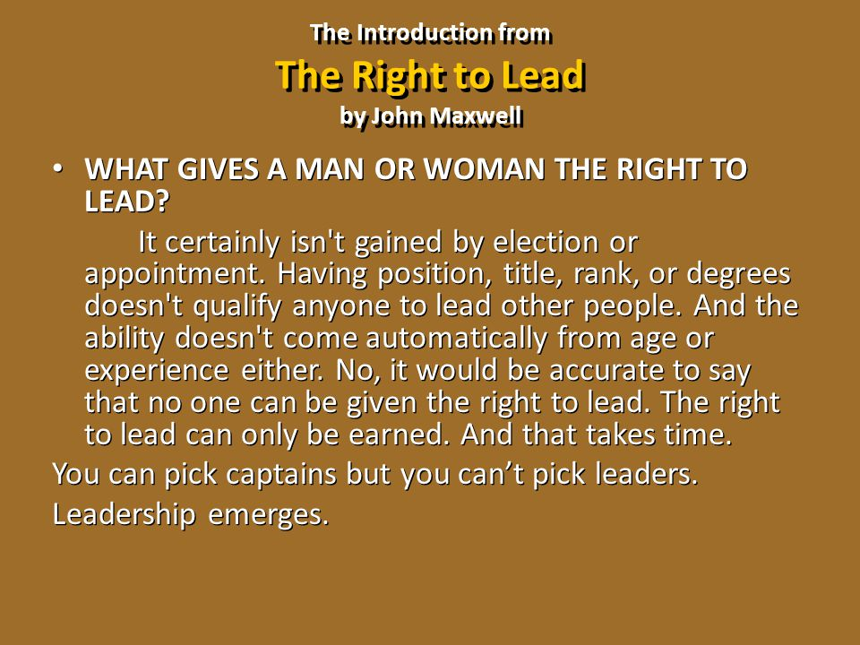 The Introduction from The Right to Lead by John Maxwell