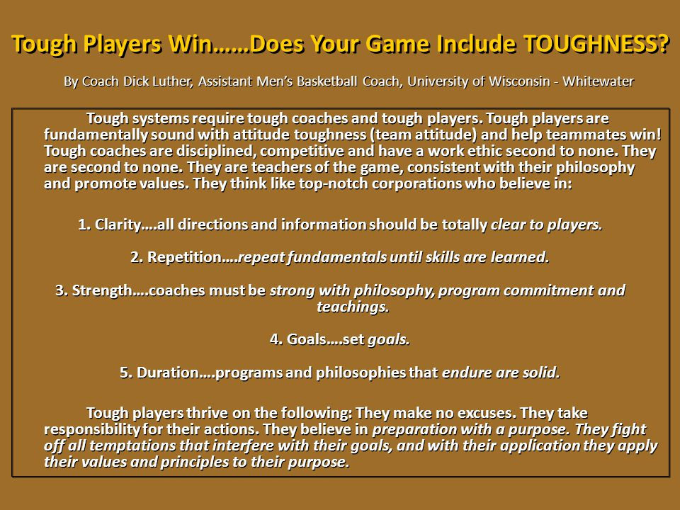 Tough Players Win……Does Your Game Include TOUGHNESS