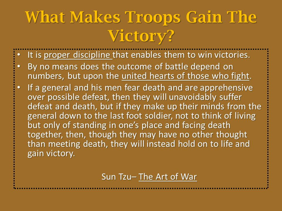 What Makes Troops Gain The Victory