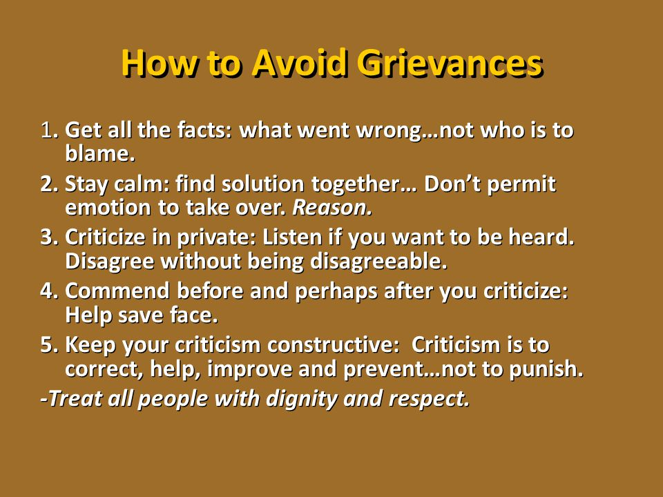 How to Avoid Grievances