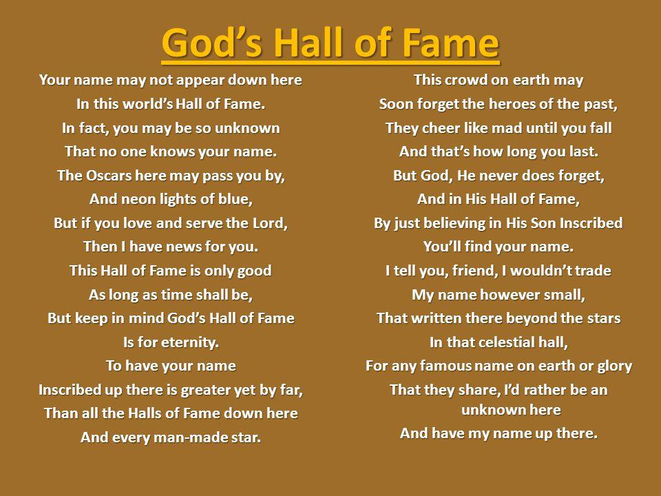 God's Hall of Fame
