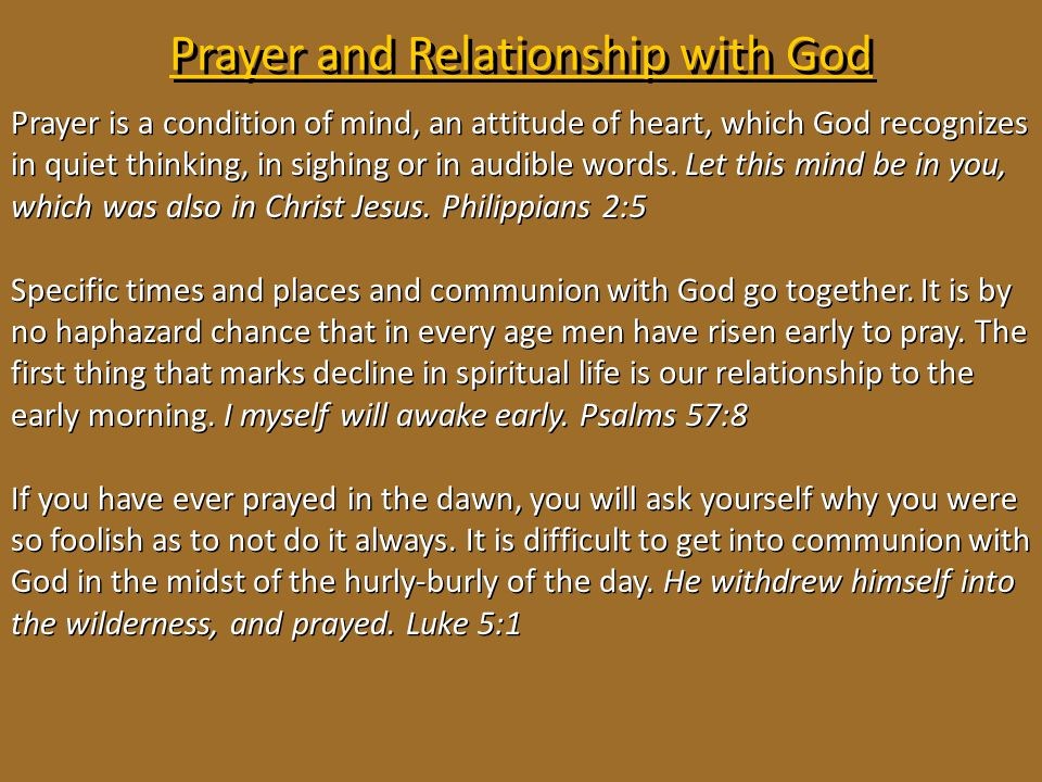 Prayer and Relationship with God
