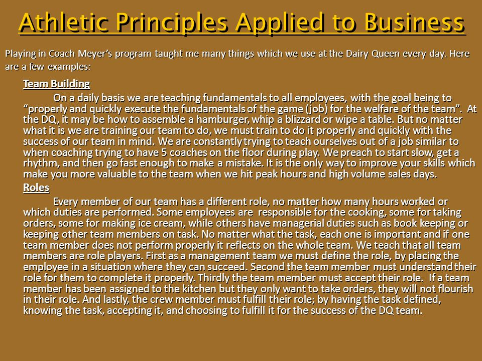 Athletic Principles Applied to Business