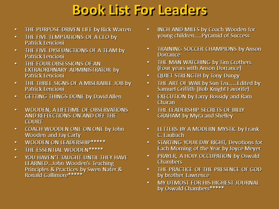 Book List For Leaders THE PURPOSE DRIVEN LIFE by Rick Warren