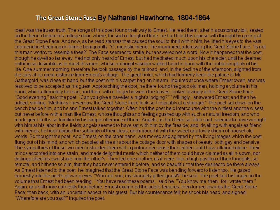 The Great Stone Face By Nathaniel Hawthorne, 1804-1864