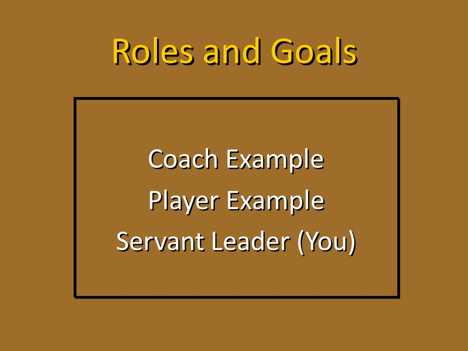 Coach Example Player Example Servant Leader (You)