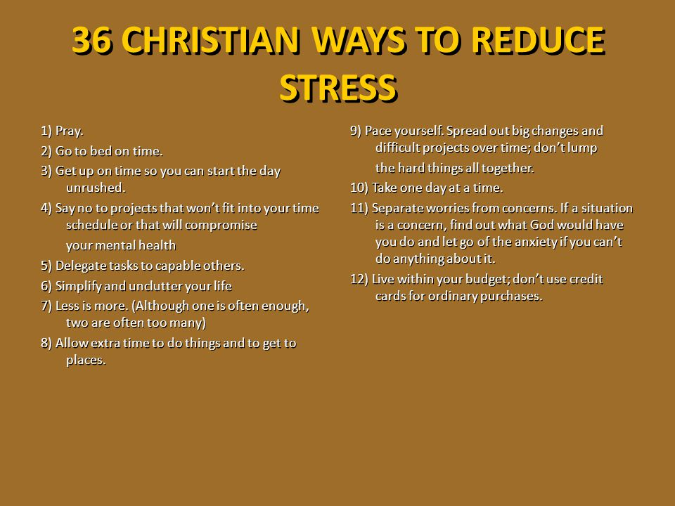 36 CHRISTIAN WAYS TO REDUCE STRESS