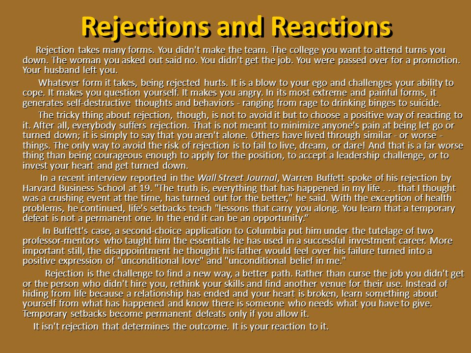 Rejections and Reactions