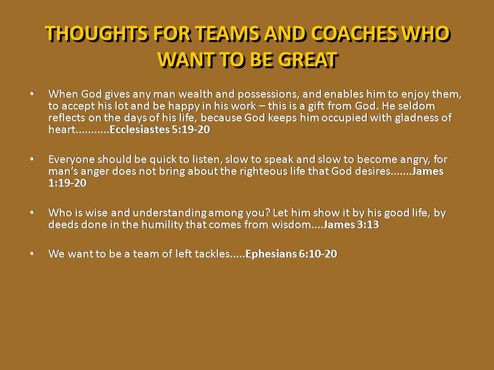 THOUGHTS FOR TEAMS AND COACHES WHO WANT TO BE GREAT