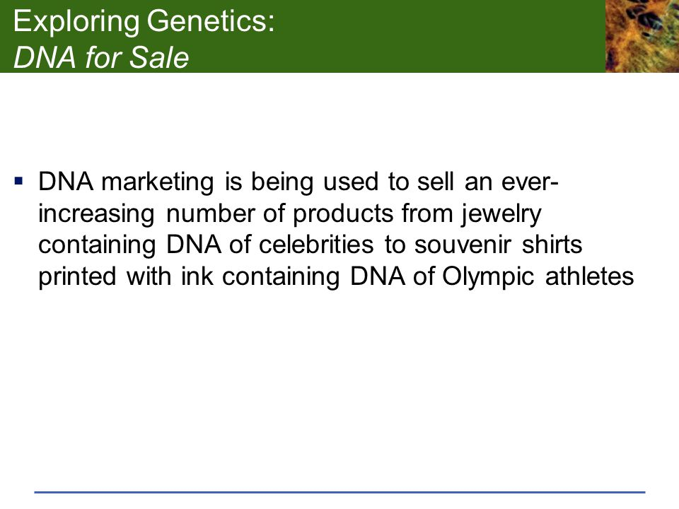 Exploring Genetics: DNA for Sale