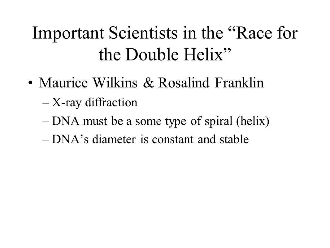 Important Scientists in the Race for the Double Helix