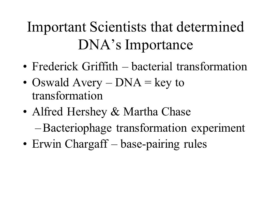 Important Scientists that determined DNA's Importance