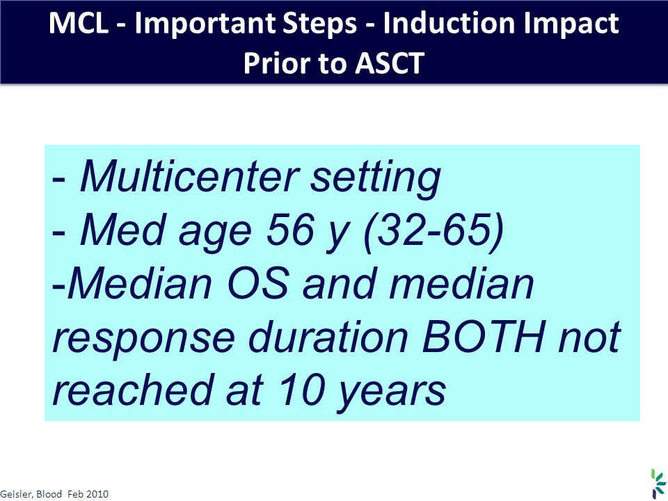 MCL - Important Steps - Induction Impact Prior to ASCT