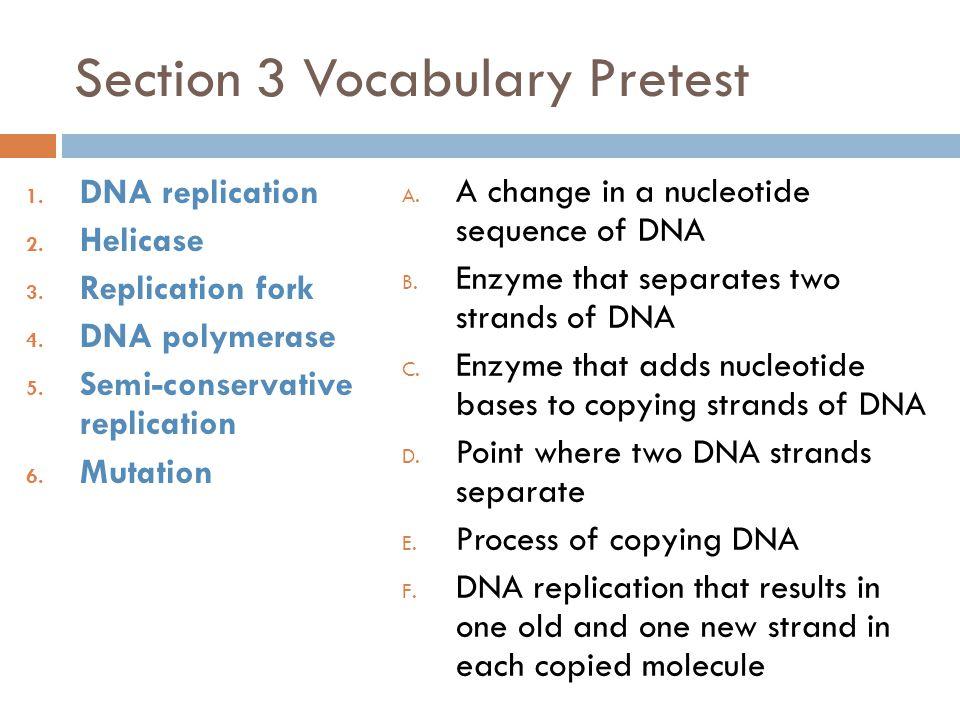 Section 3 Vocabulary Pretest