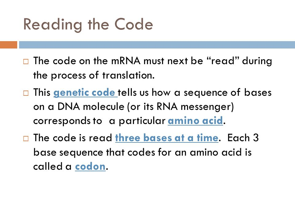 Reading the Code The code on the mRNA must next be read during the process of translation.
