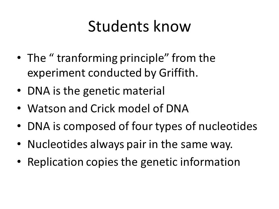 Students know The tranforming principle from the experiment conducted by Griffith. DNA is the genetic material.