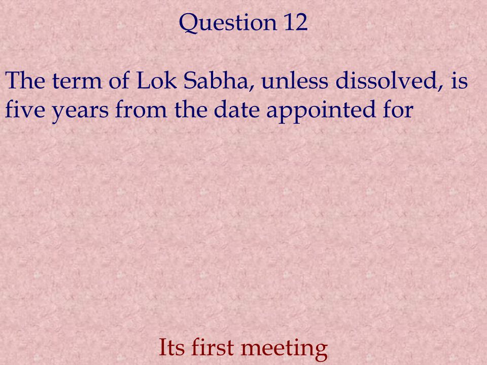 Question 12 The term of Lok Sabha, unless dissolved, is five years from the date appointed for.