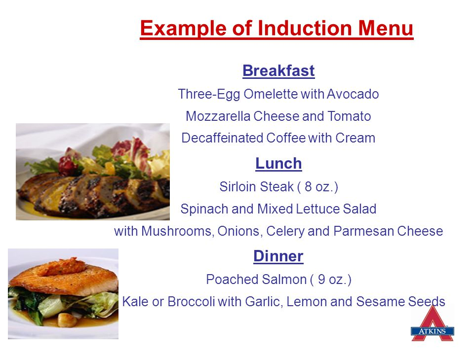 Example of Induction Menu
