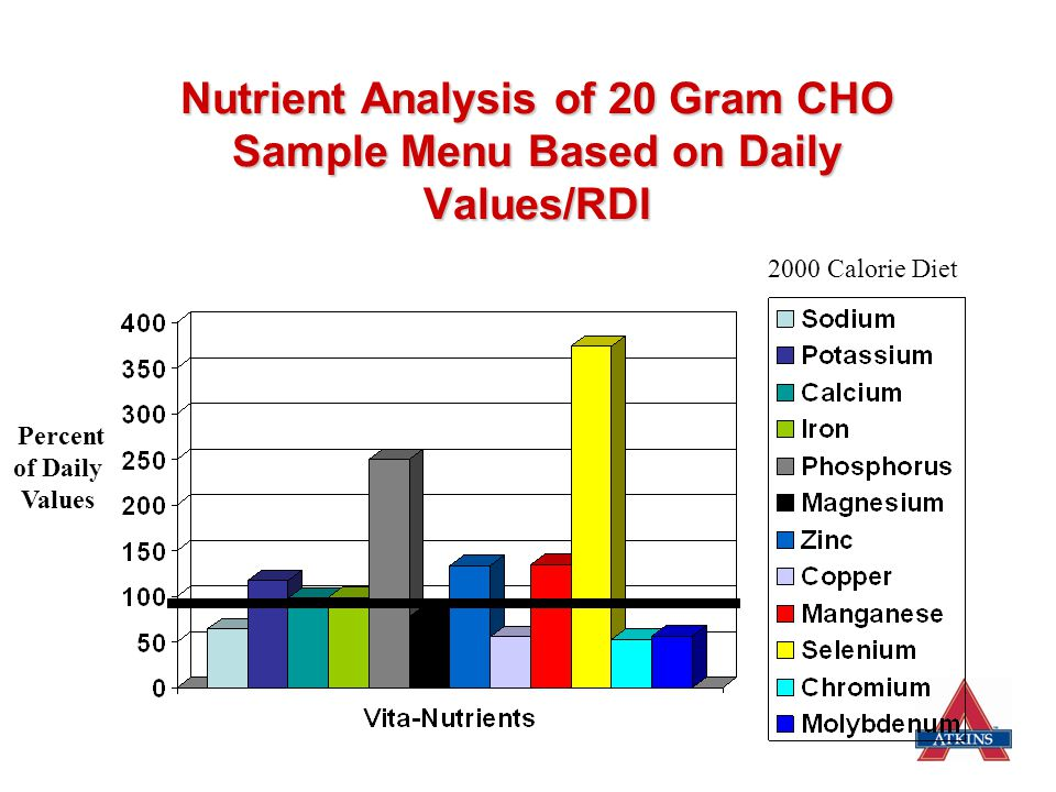 Nutrient Analysis of 20 Gram CHO Sample Menu Based on Daily Values/RDI