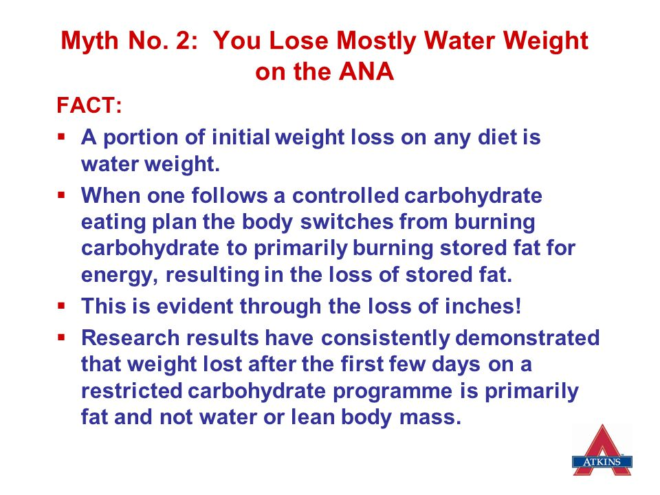 Myth No. 2: You Lose Mostly Water Weight on the ANA