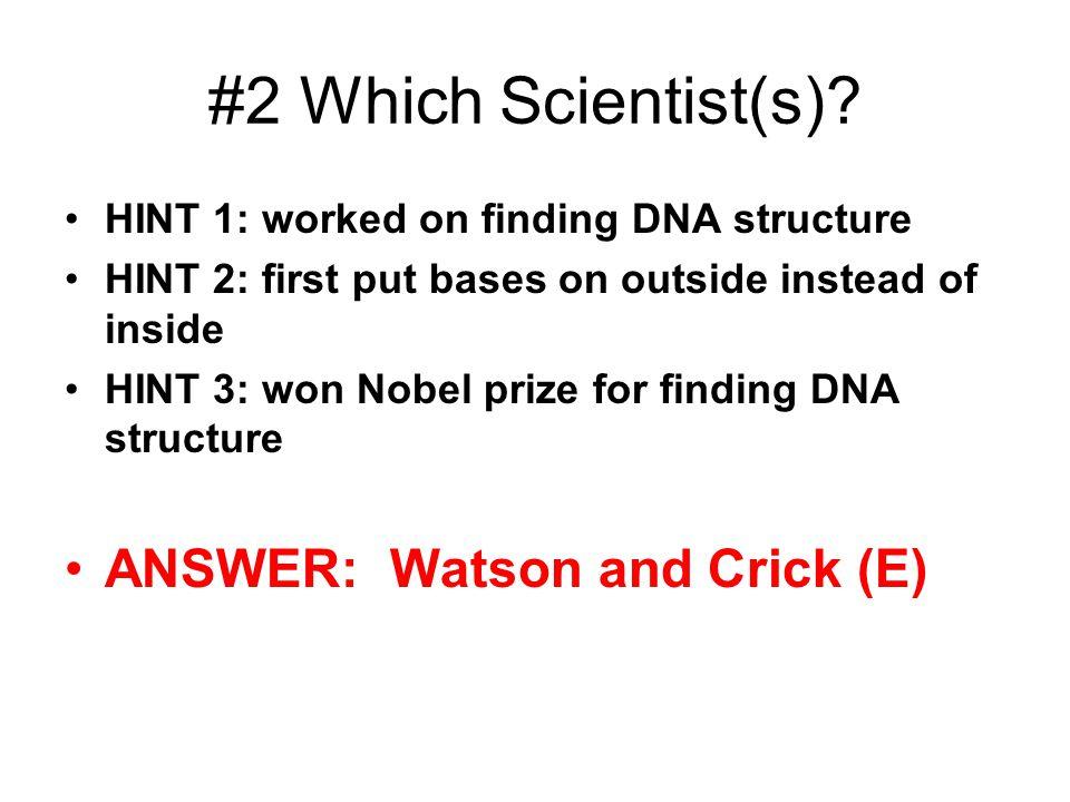#2 Which Scientist(s) ANSWER: Watson and Crick (E)