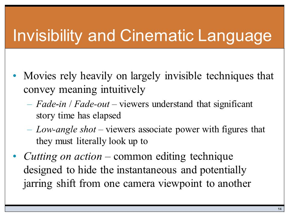 Invisibility and Cinematic Language