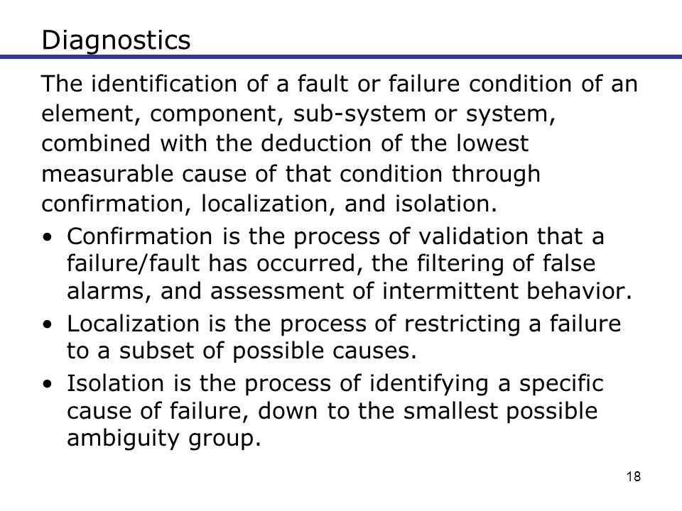 Diagnostics The identification of a fault or failure condition of an