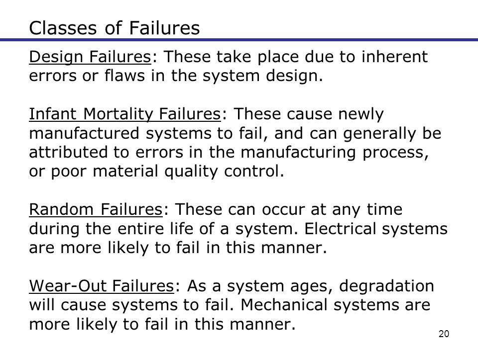 Classes of Failures Design Failures: These take place due to inherent
