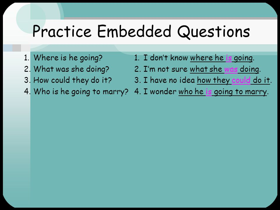 Practice Embedded Questions