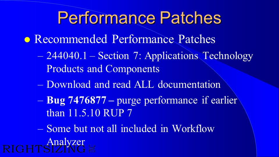 Performance Patches Recommended Performance Patches