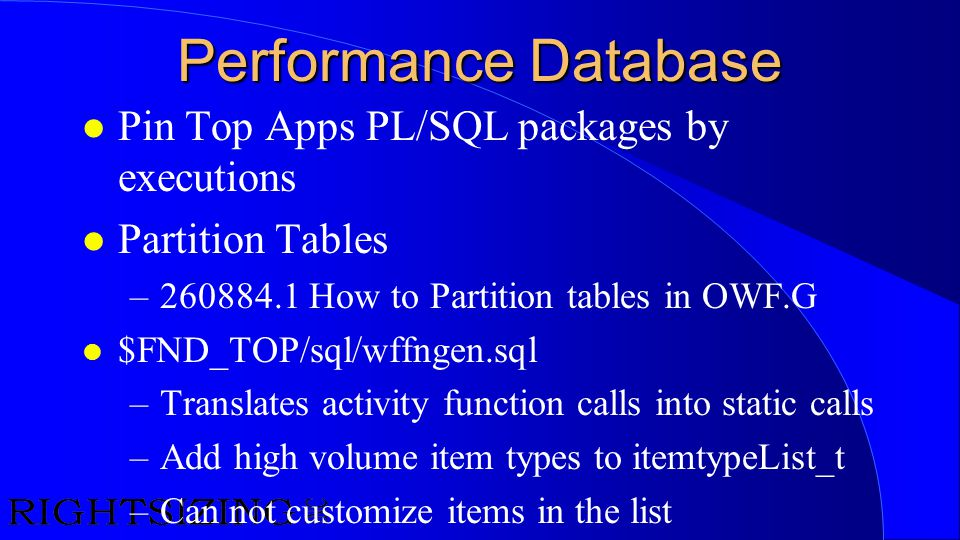 Performance Database Pin Top Apps PL/SQL packages by executions