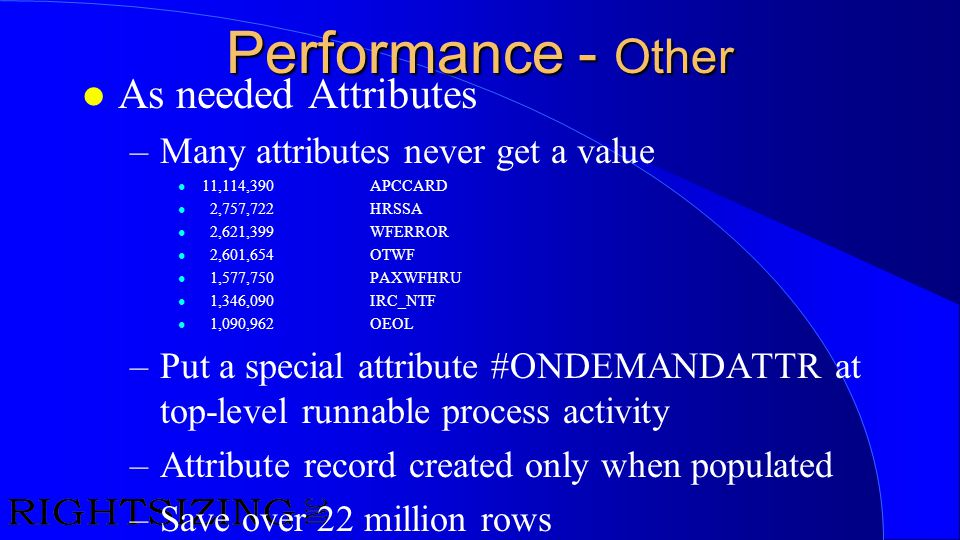 Performance - Other As needed Attributes