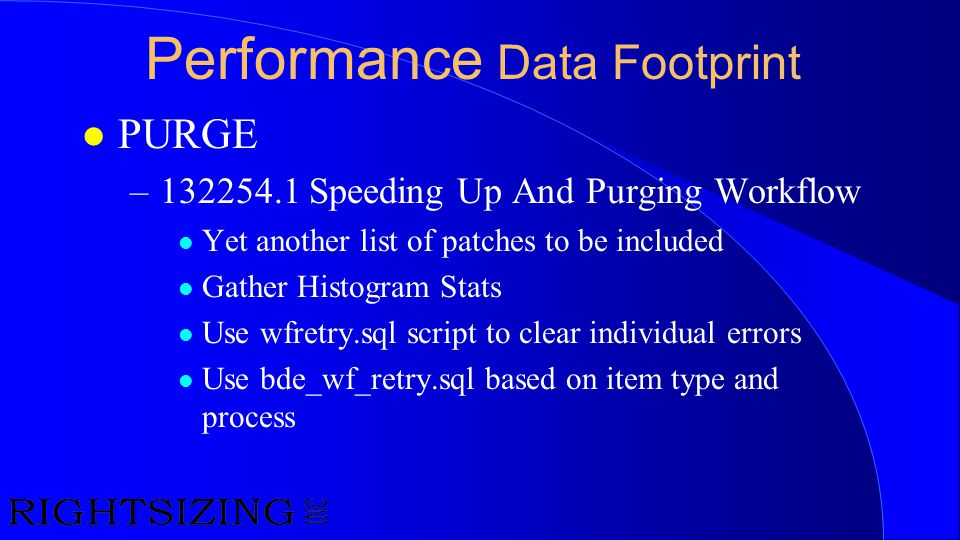 Performance Data Footprint