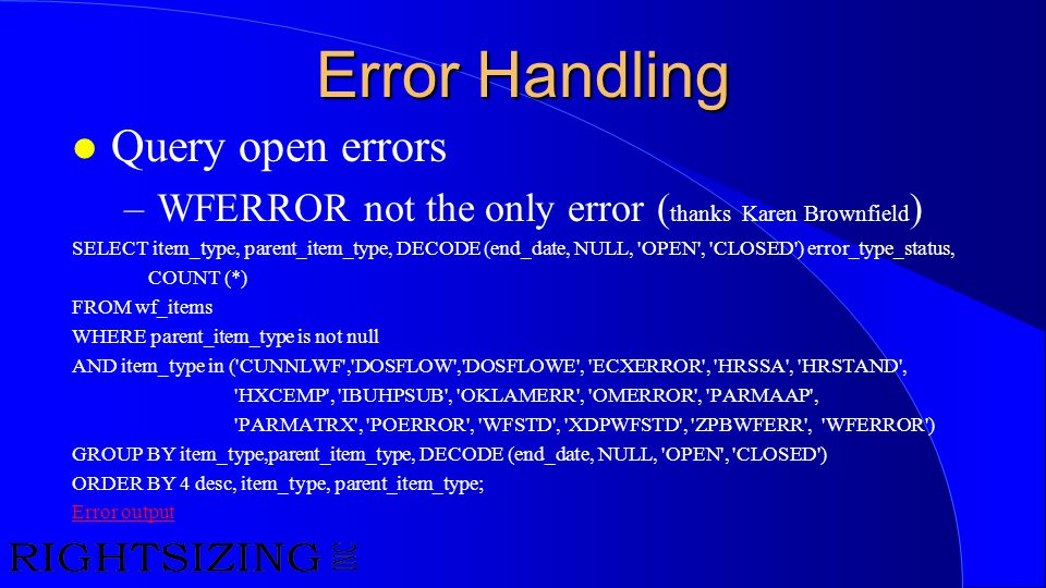 Error Handling Query open errors