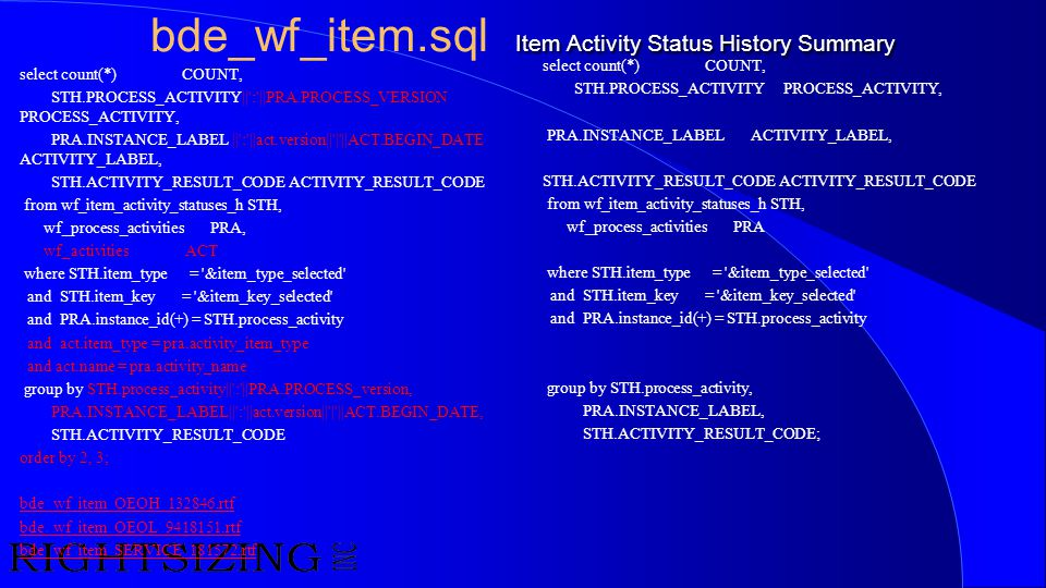 bde_wf_item.sql Item Activity Status History Summary