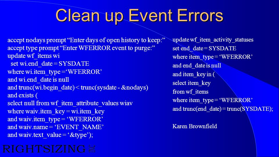 Clean up Event Errors