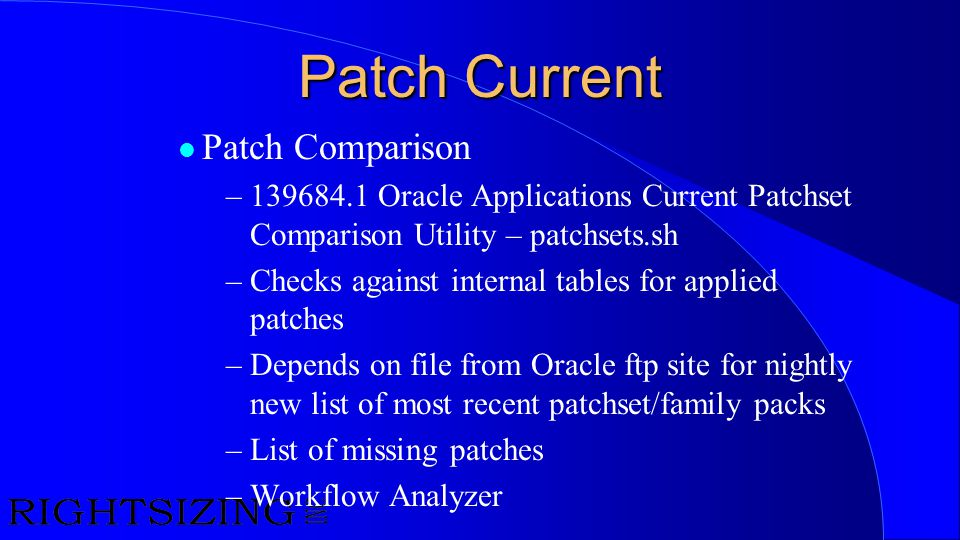 Patch Current Patch Comparison