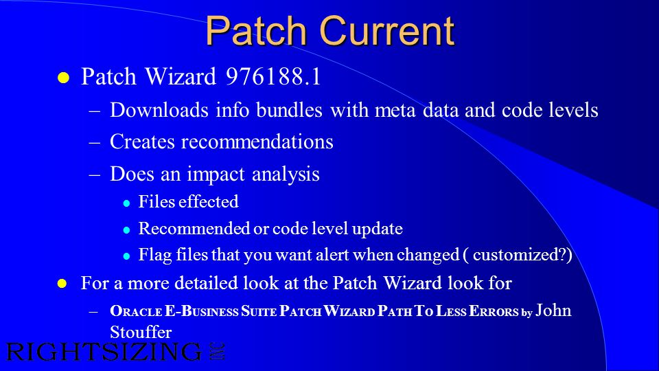 Patch Current Patch Wizard 976188.1