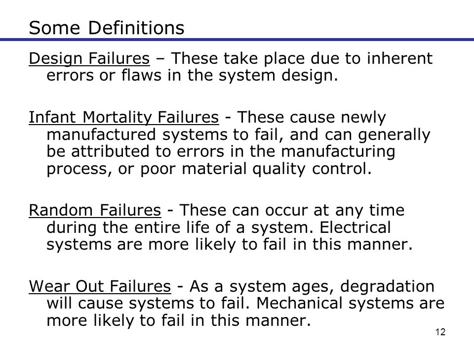 Some Definitions Design Failures – These take place due to inherent errors or flaws in the system design.