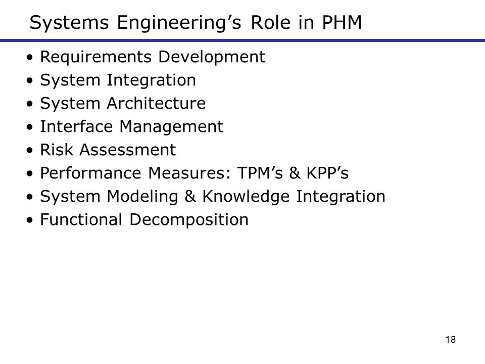 Systems Engineering's Role in PHM
